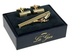 """Подарочный набор """"LA GEER"""": заколка для галстука, запонки (140503)"""