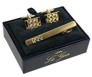 """Подарочный набор """"LA GEER"""": заколка для галстука, запонки (140508)"""