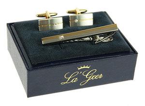 """Подарочный набор """"LA GEER"""": заколка для галстука, запонки (140511)"""