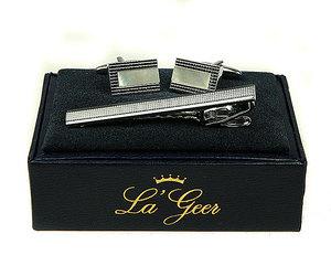 """Подарочный набор """"LA GEER"""": заколка для галстука, запонки  (140528)"""