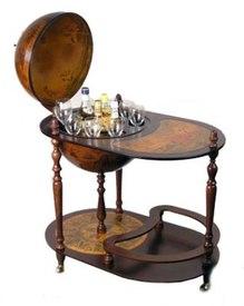 Глобус-бар напольный со столиком (47025)