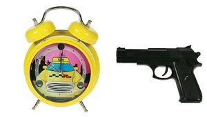 """Часы-будильник """"Меткое пробуждение"""" с пистолетом  (232407)"""