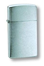 "Зажигалка узкая Zippo ""SLIM BRUSH CHROME (1600)"
