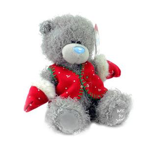 Мишка MTY 18 см - в красной жилетке и рукавицах (G01W3341)
