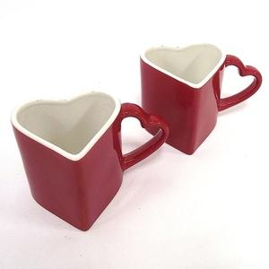 Кружка двойная сердце красное с белым (92960)