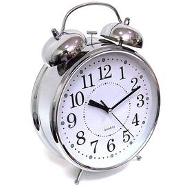 Часы Будильник ГИГАНТ никелированные с подсветкой (91917)